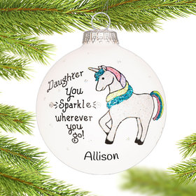 Personalized Daughter Unicorn Christmas Ornament