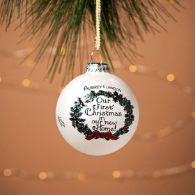 Personalized New Home Wreath Christmas Ornament