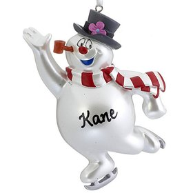Personalized Frosty the Snowman Ice Skating Christmas Ornament