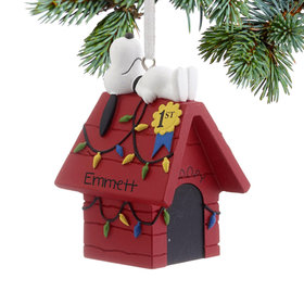 Personalized Snoopy on Doghouse Christmas Ornament