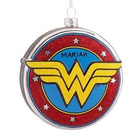 Personalized Wonder Woman Shield Christmas Ornament