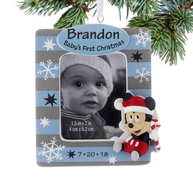 Personalized Mickey Mouse Baby's First Boy Photo Holder Christmas Ornament