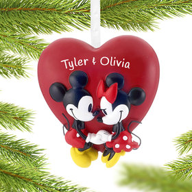 Personalized Mickey and Minnie Heart Christmas Ornament