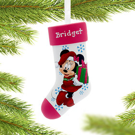 Personalized Minnie Mouse on Stocking Christmas Ornament