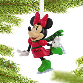 Personalized Minnie Mouse Skating Christmas Ornament