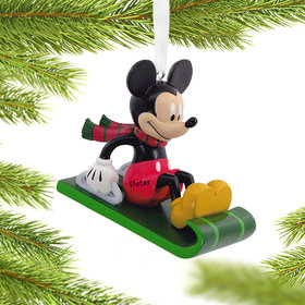 Personazlied Mickey Mouse on Sled Christmas Ornament