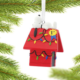 Snoopy on Decorated Doghouse Christmas Ornament