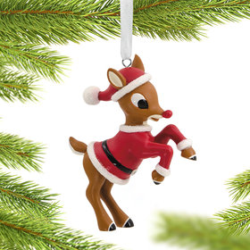 Rudolph in Santa Suit Christmas Ornament