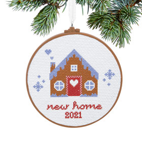 New Home Cross Stitch Dated Christmas Ornament