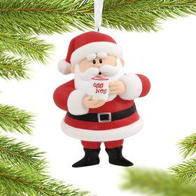 Santa with Egg Nog Christmas Ornament