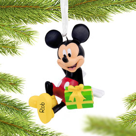 Personalized Mickey Mouse Sitting on Gift Disney Christmas Ornament