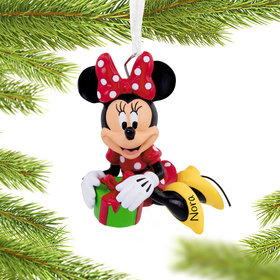 Personalized Minnie Mouse Sitting on Gift Disney Christmas Ornament