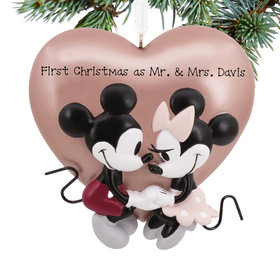 Personalized Mickey Mouse & Minnie Mouse Love Christmas Ornament