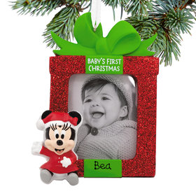 Personalized Minnie Mouse Baby's First Disney Christmas Photo Holder Disney Christmas Ornament