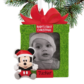 Personalized Mickey Baby's First Disney Christmas Photo Holder Disney Christmas Ornament