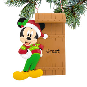 Personalized Mickey Mouse on Sled Disney Christmas Ornament