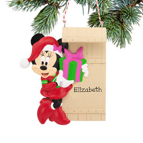 Personalized Minnies on Sled Disney Christmas Ornament