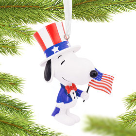 Patriotic Snoopy Christmas Ornament