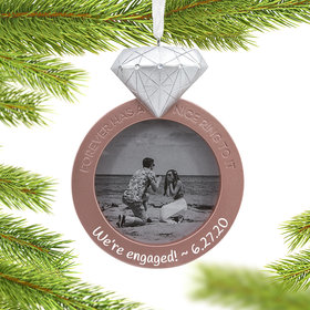 Photo Holder Personalized Engagement Christmas Ornament