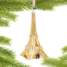 Metal Eiffel Tower Christmas Ornament