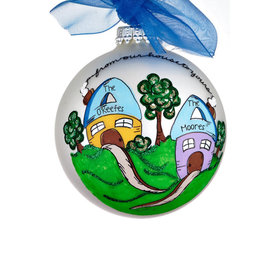 Personalized Whimsical From Our House to Yours Glass Ball Christmas Ornament