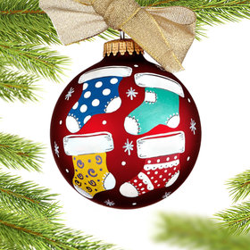 Christmas Stockings Family of 4 Christmas Ornament
