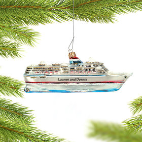Personalized Cruise Ship Polish Glass Christmas Ornament