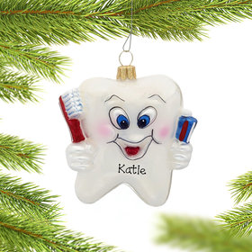 Personalized Happy Tooth Christmas Ornament