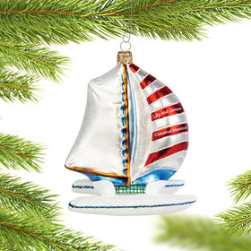 Personalized Catamaran Sailboat Christmas Ornament