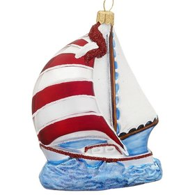 Polish Glass Sailboat Christmas Ornament