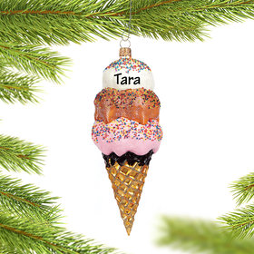 Ice Cream Cone Christmas Ornament