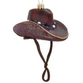 Personalized Dark Brown Cowboy Hat with Studded Band Christmas Ornament