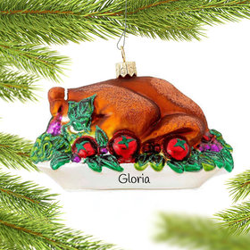 Personalized Thanksgiving Turkey Christmas Ornament