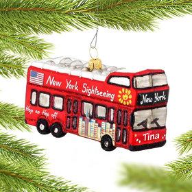 Personalized City Tour Bus NYC Christmas Ornament