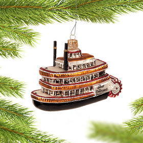 Personalized New Orleans Mississippi Steamboat Christmas Ornament