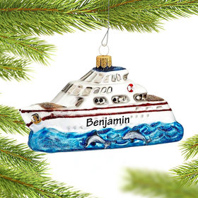 Personalized Luxury Yacht Christmas Ornament