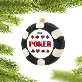 Personalized Poker Chip Christmas Ornament