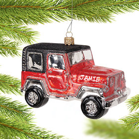 Personalized Four Wheel Drive Jeep Car Christmas Ornament