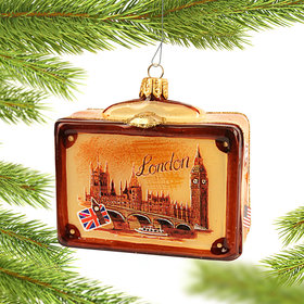 Personalized Vintage London Suitcase Christmas Ornament