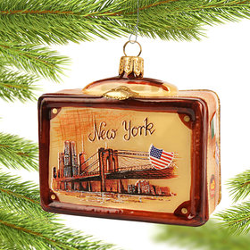 Personalized Vintage New York Suitcase Christmas Ornament