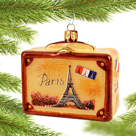 Personalized Vintage Paris Suitcase Christmas Ornament