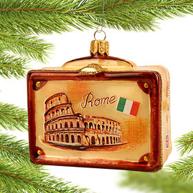 Personalized Vintage Rome Suitcase Christmas Ornament