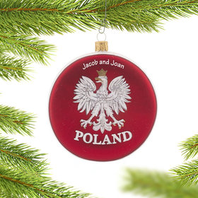 Personalized Poland Disc Christmas Ornament