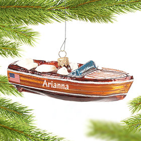 Personalized Vintage Mahogany Boat Christmas Ornament
