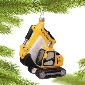 Personalized Excavator Christmas Ornament