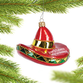 Personalized Red Sombrero Christmas Ornament