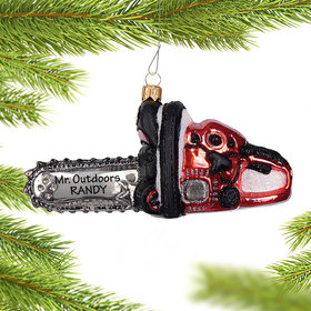Personalized Chain Saw Christmas Ornament