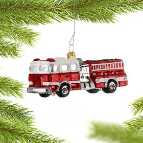 Personalized Fire Engine (White and Red) Christmas Ornament