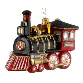 Black and Red Locomotive Christmas Ornament