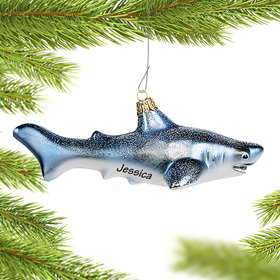 Personalized White Shark Christmas Ornament